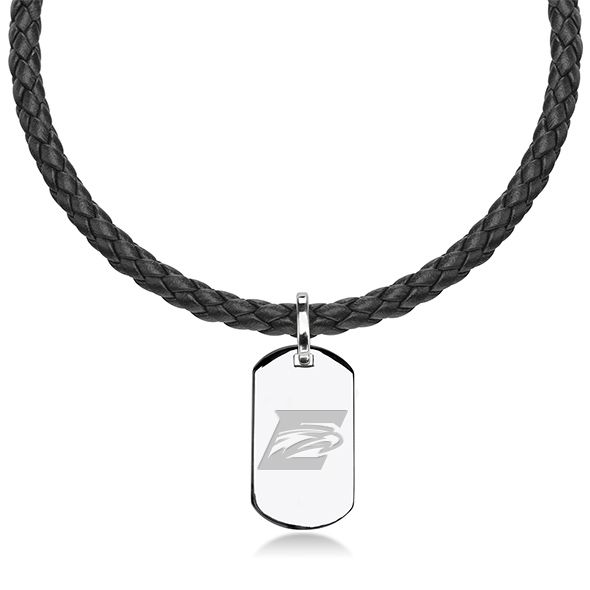 Emory Leather Necklace with Sterling Dog Tag