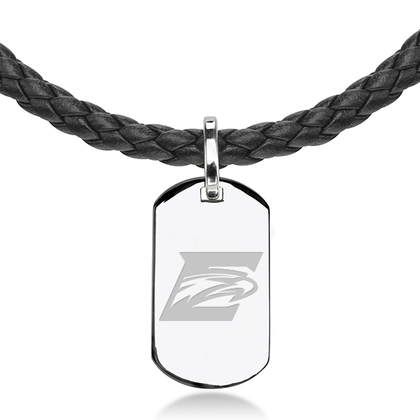 Emory Leather Necklace with Sterling Dog Tag - Image 2
