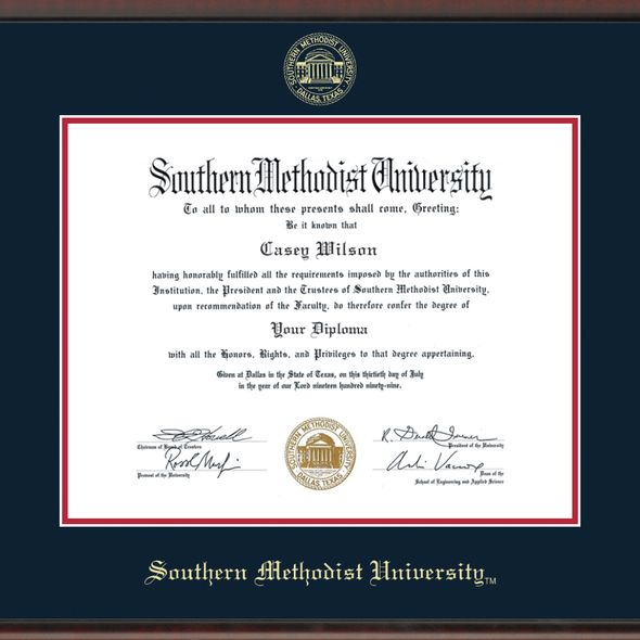 Southern Methodist University Diploma Frame, the Fidelitas - Image 2