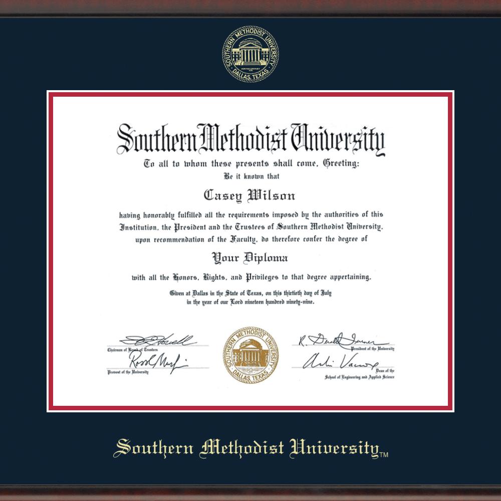 Southern Methodist University Diploma Frame, the Fidelitas - Image 2