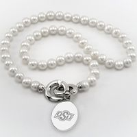 Oklahoma State University Pearl Necklace with Sterling Silver Charm