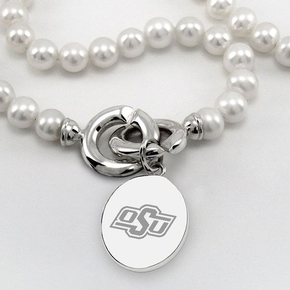 Oklahoma State University Pearl Necklace with Sterling Silver Charm - Image 2