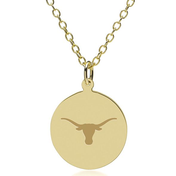 University of Texas 18K Gold Pendant & Chain - Image 1