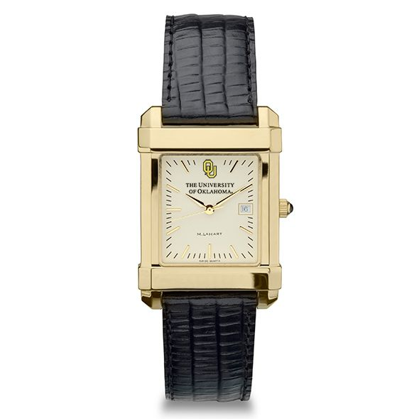 Oklahoma Men's Gold Quad Watch with Leather Strap - Image 2
