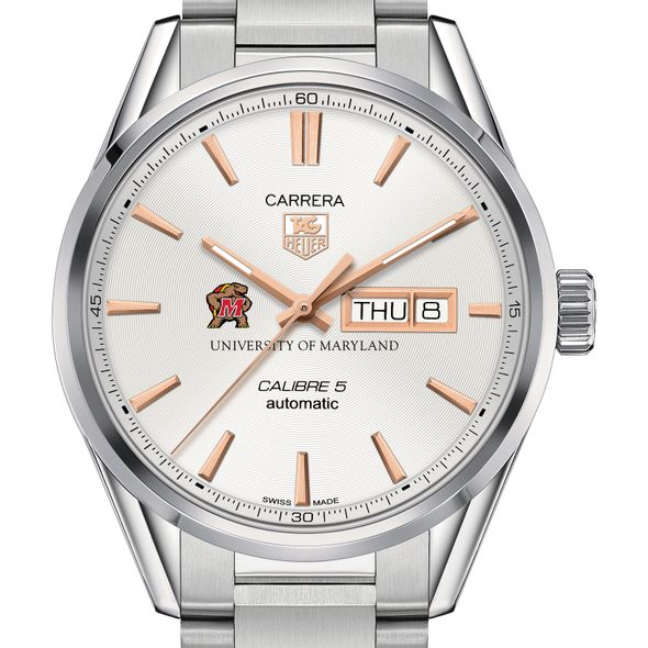 University of Maryland Men's TAG Heuer Day/Date Carrera with Silver Dial & Bracelet