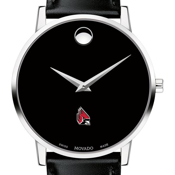 Ball State Men's Movado Museum with Leather Strap - Image 1