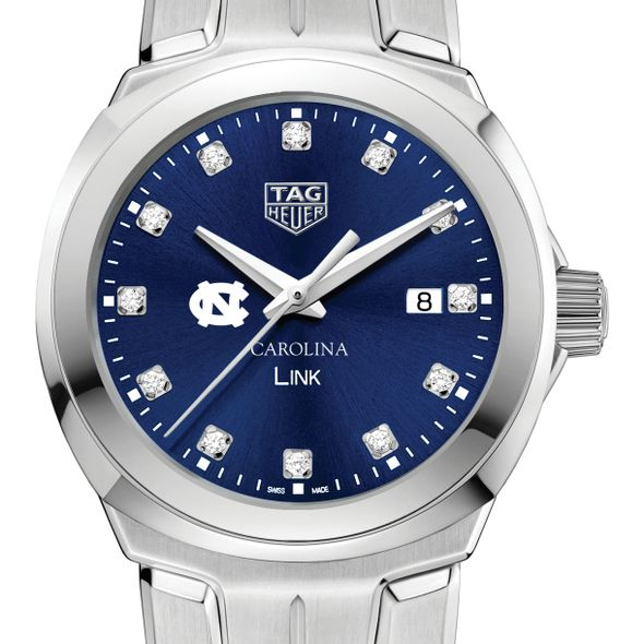 University of North Carolina Women's TAG Heuer Link with Blue Diamond Dial
