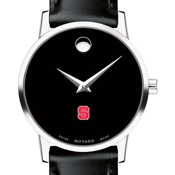 North Carolina State Women's Movado Museum with Leather Strap