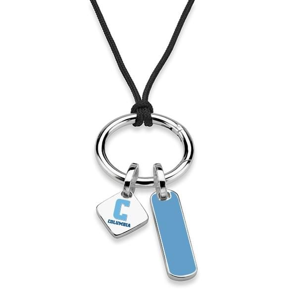 Columbia University Silk Necklace with Enamel Charm & Sterling Silver Tag - Image 2