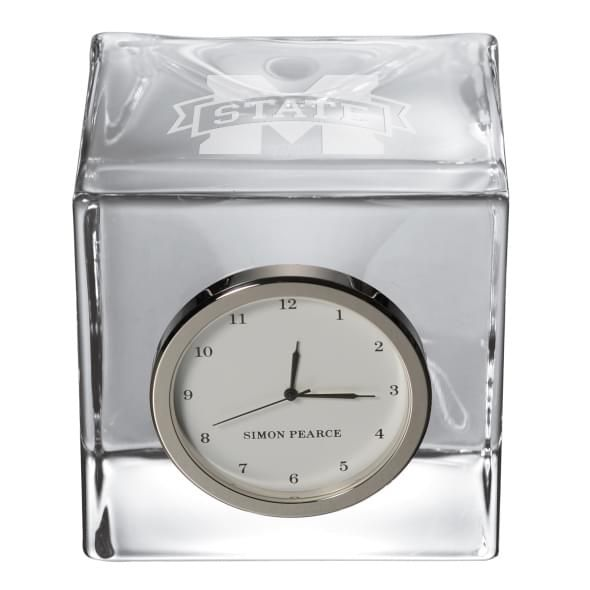 Mississippi State Glass Desk Clock by Simon Pearce - Image 2