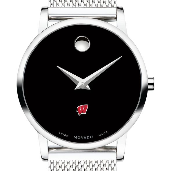 University of Wisconsin Women's Movado Museum with Mesh Bracelet - Image 1