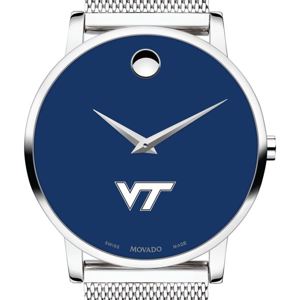 Virginia Tech Men's Movado Museum with Blue Dial & Mesh Bracelet