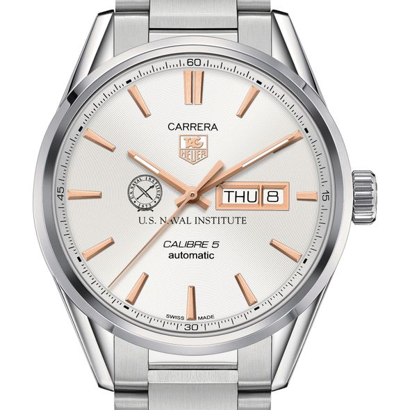 U.S. Naval Institute Men's TAG Heuer Day/Date Carrera with Silver Dial & Bracelet