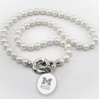 Michigan Ross Pearl Necklace with Sterling Silver Charm