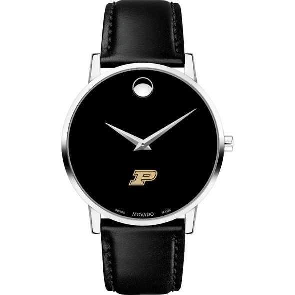 Purdue University Men's Movado Museum with Leather Strap - Image 2