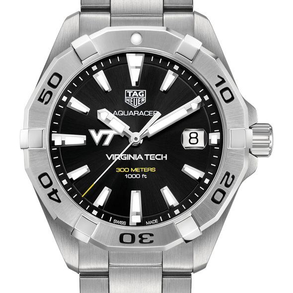 Virginia Tech Men's TAG Heuer Steel Aquaracer with Black Dial - Image 1