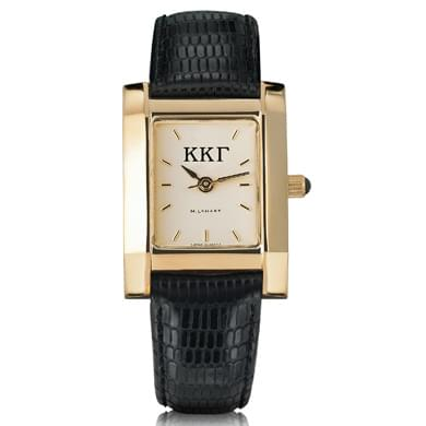 KKG Women's Gold Quad Watch with Leather Strap