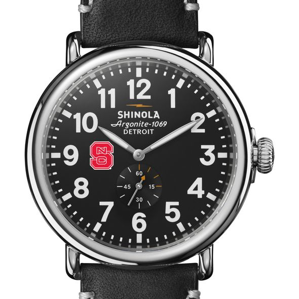 NC State Shinola Watch, The Runwell 47mm Black Dial - Image 1