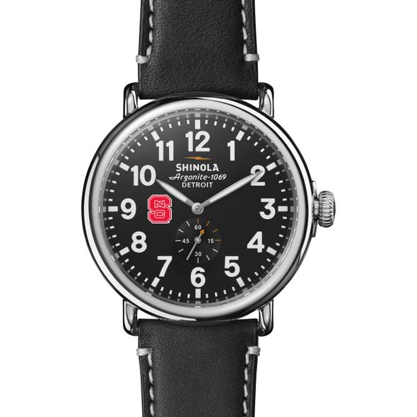 NC State Shinola Watch, The Runwell 47mm Black Dial - Image 2