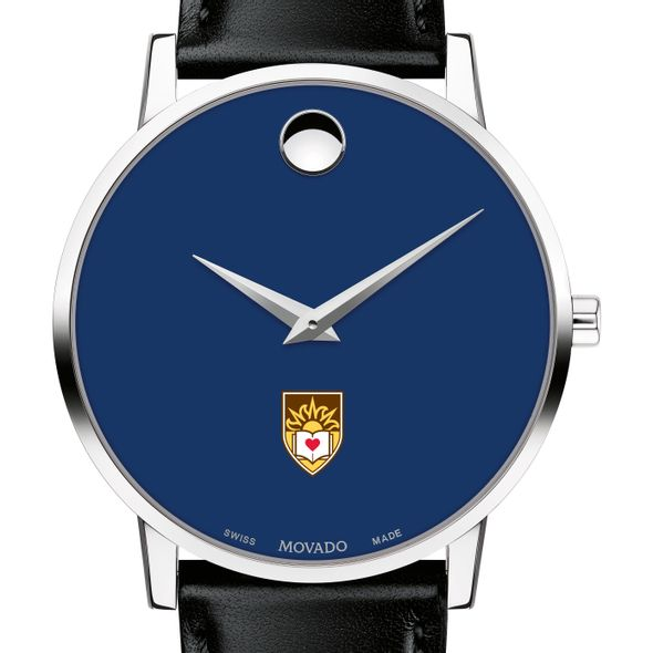 Lehigh University Men's Movado Museum with Blue Dial & Leather Strap