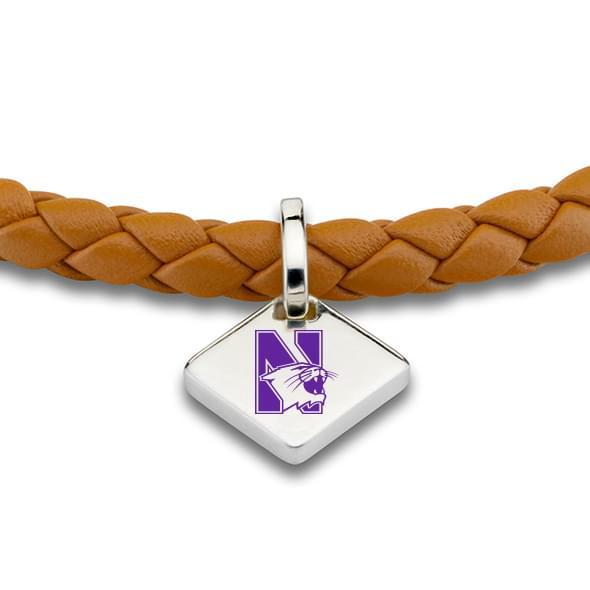 Northwestern Leather Bracelet with Sterling Tag - Saddle - Image 2