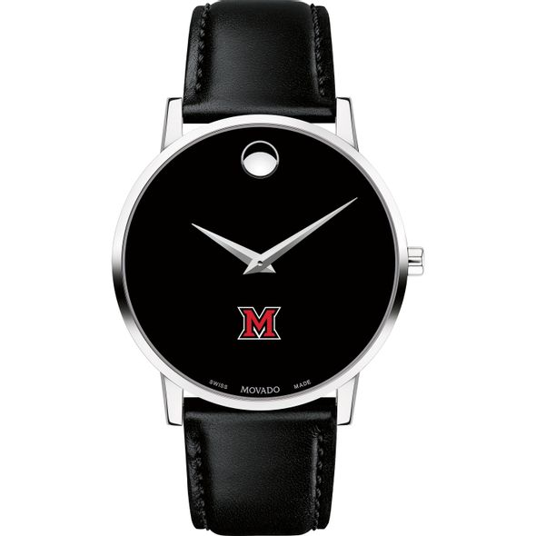 Miami University Men's Movado Museum with Leather Strap - Image 2