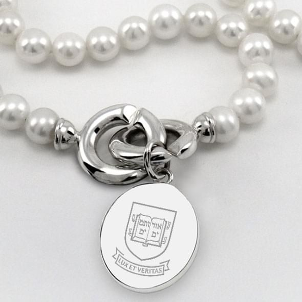 Yale Pearl Necklace with Sterling Silver Charm - Image 2