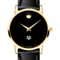 Texas A&M Women's Movado Gold Museum Classic Leather