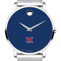Miami University Men's Movado Museum with Blue Dial & Mesh Bracelet