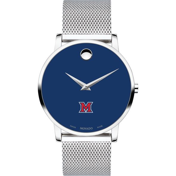Miami University Men's Movado Museum with Blue Dial & Mesh Bracelet - Image 2