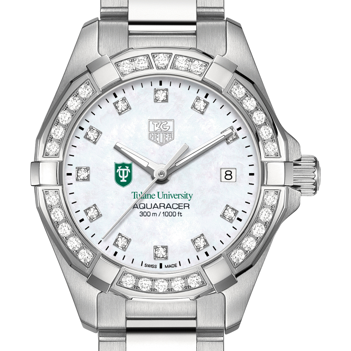 Tulane W's TAG Heuer Steel Aquaracer with MOP Dia Dial & Bezel