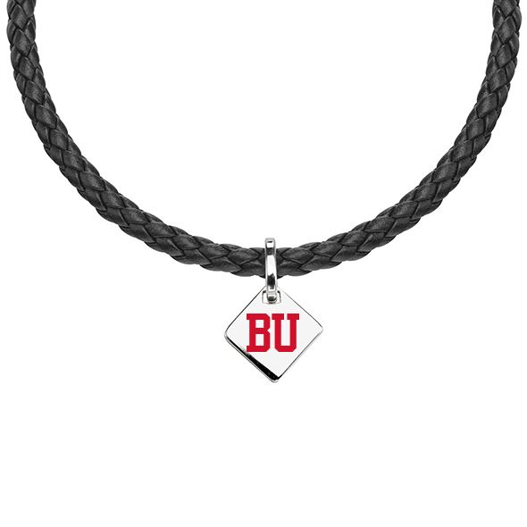 Boston University Leather Necklace with Sterling Silver Tag