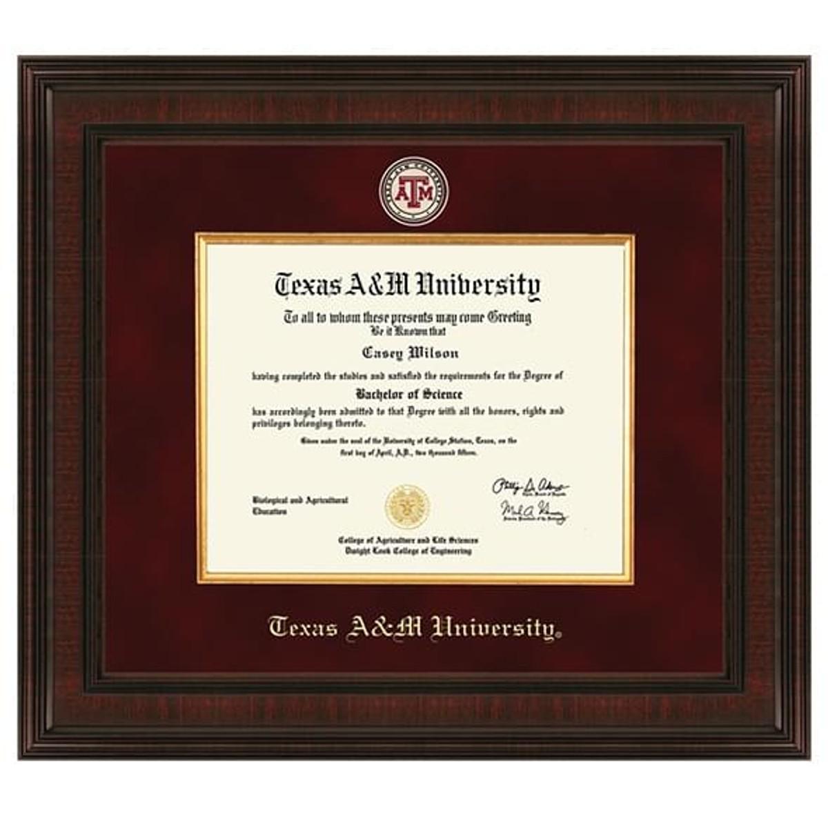 Texas A Amp M University Diploma Frame Excelsior