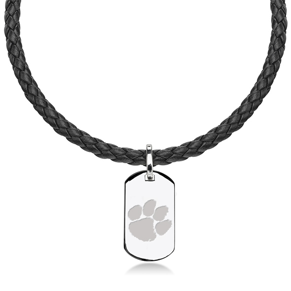 Clemson Leather Necklace with Sterling Dog Tag