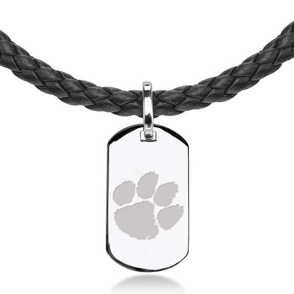 Clemson Leather Necklace with Sterling Dog Tag - Image 2