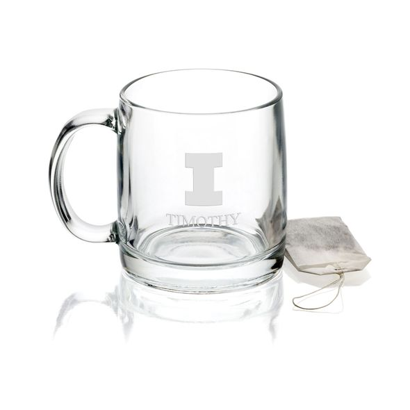 University of Illinois 13 oz Glass Coffee Mug - Image 1