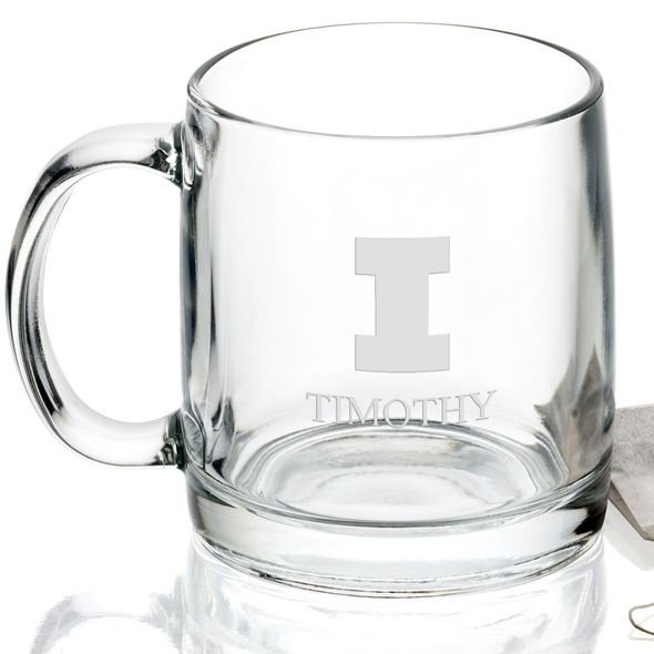 University of Illinois 13 oz Glass Coffee Mug - Image 2