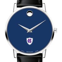 Holy Cross Men's Movado Museum with Blue Dial & Leather Strap