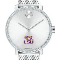 LSU Women's Movado Bold with Crystal Bezel & Mesh Bracelet