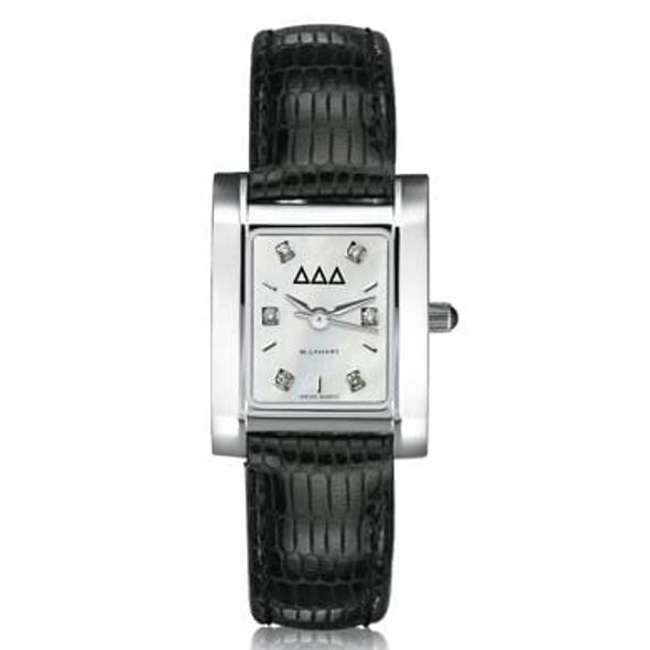 Delta Delta Delta Women's Mother of Pearl Quad Watch with Diamonds & Leather Strap