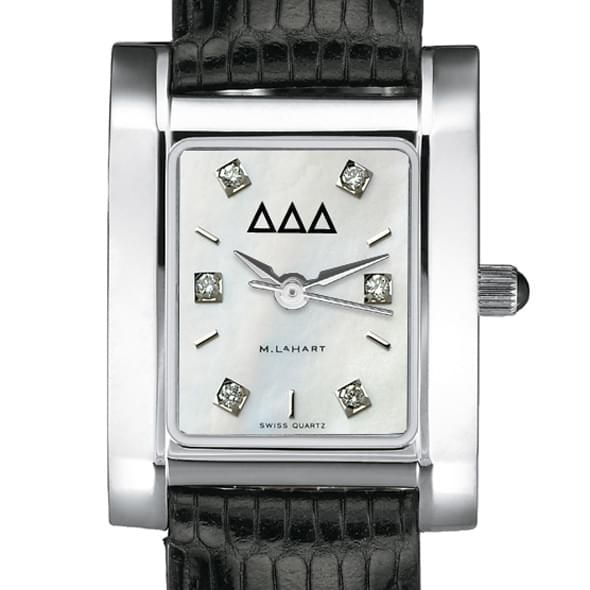 Delta Delta Delta Women's Mother of Pearl Quad Watch with Diamonds & Leather Strap - Image 2