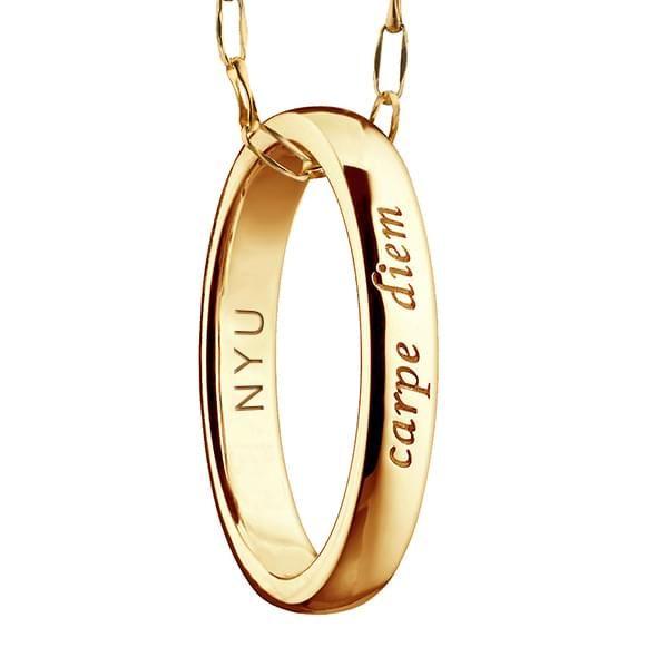 "NYU Monica Rich Kosann ""Carpe Diem"" Poesy Ring Necklace Gold - Image 3"
