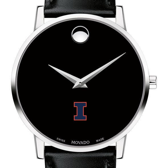University of Illinois Men's Movado Museum with Leather Strap