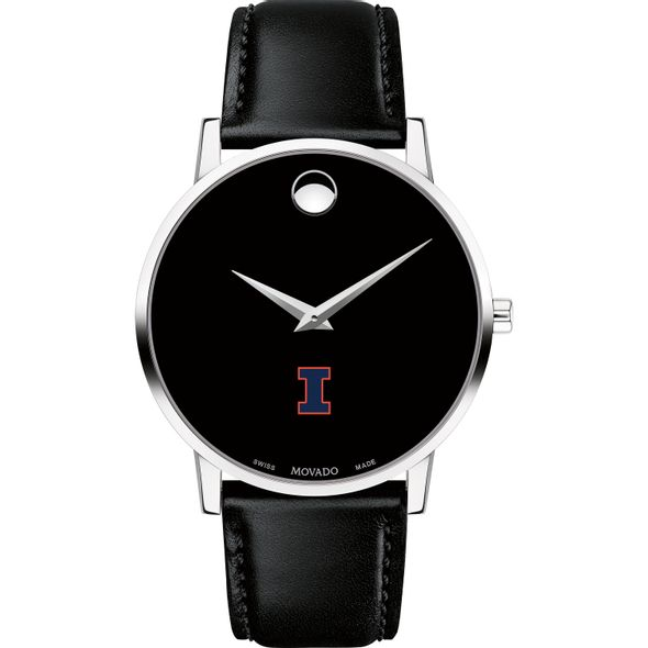 University of Illinois Men's Movado Museum with Leather Strap - Image 2