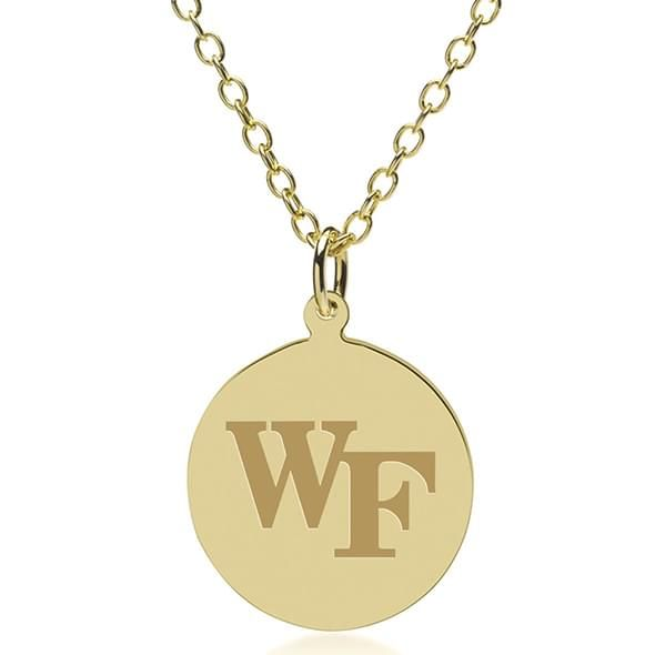 Wake Forest 18K Gold Pendant & Chain - Image 1