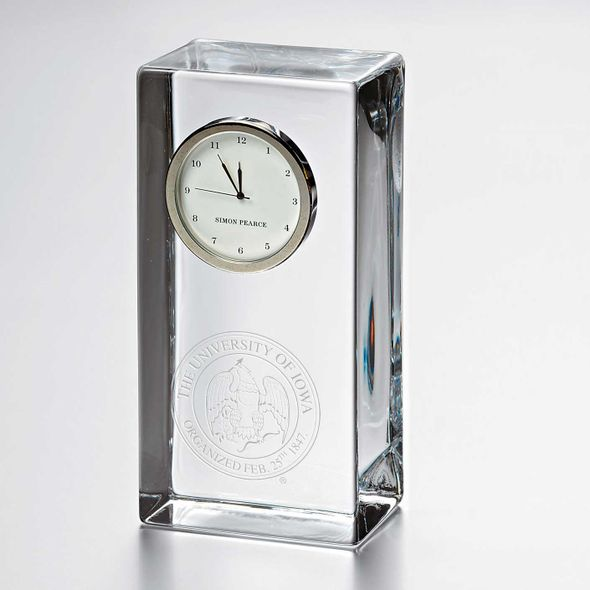 University of Iowa Tall Glass Desk Clock by Simon Pearce
