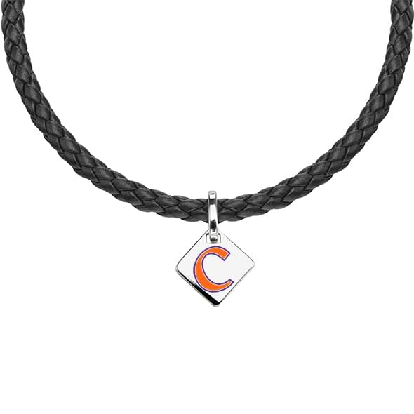 Clemson Leather Necklace with Sterling Silver Tag