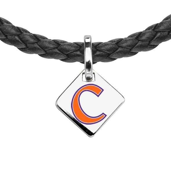 Clemson Leather Necklace with Sterling Silver Tag - Image 2