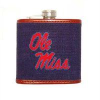 Ole Miss Needlepoint-Encased Flask