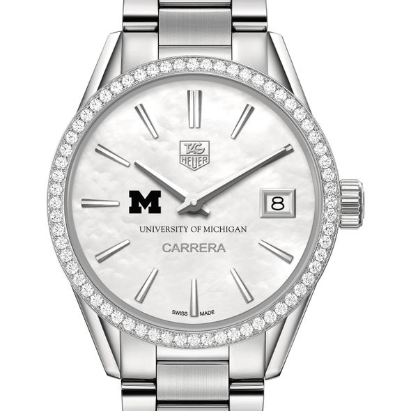 University of Michigan Women's TAG Heuer Steel Carrera with MOP Dial & Diamond Bezel